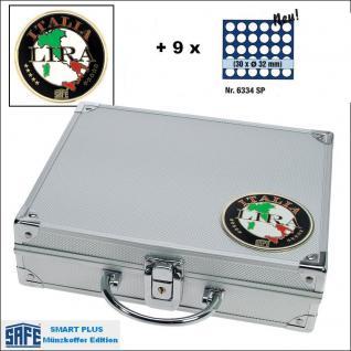 SAFE 232 - 6334 PLUS ALU Münzkoffer SMART Italien 9 Tableaus 270 Fächer 32 mm 2 Euro Münzen in Münzkapseln 26