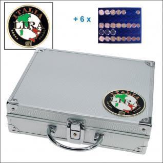SAFE 232 - 6339 STANDARD ALU Münzkoffer SMART Italien 6 Tableaus 30 komplette EURO Kursmünzensätze KMS 1 Cent - 2 ? in Münzkapseln