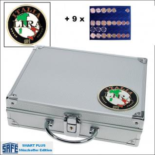 SAFE 232 - 6339 PLUS ALU Münzkoffer SMART Italien 9 Tableaus 45 komplette EURO Kursmünzensätze KMS 1 Cent - 2 ? in Münzkapseln