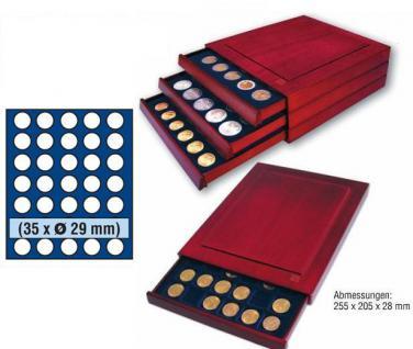 SAFE 6829 Nova Exquisite Mahagoni Finish Holz Münzboxen 35 runde Fächer 29 mm für 5 Euro DM Mark der DDR & bis Münzkapseln 23, 5 mm - Vorschau 1