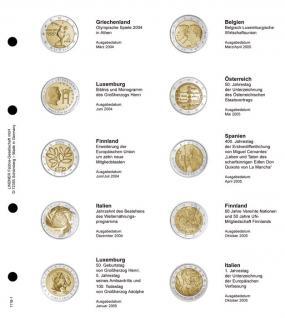 1 x LINDNER 1118-1 Vordruckblatt + K3 Karat Blatt - 2 EURO Gedenkmünzen chronologisch 2004 - 2005