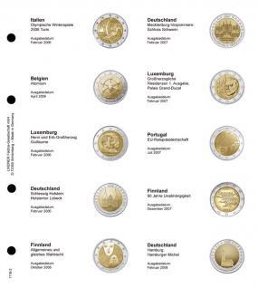 1 x LINDNER 1118-2 Vordruckblatt + K3 Karat Blatt - 2 EURO Gedenkmünzen chronologisch ab Italien 2006 bis Deutschland 2008