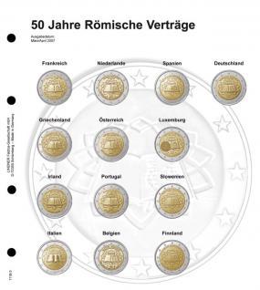 1 x LINDNER 1118-3 Vordruckblatt + K3 Karat Blatt - 2 EURO Gedenkmünzen chronologisch Römische Verträge