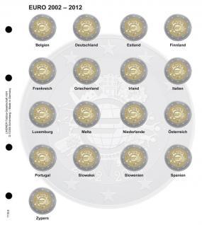 1 x LINDNER 1118-8 Vordruckblatt + K3 Karat Blatt - 2 EURO Gedenkmünzen chronologisch 10 Jahre Euro Bargeld 2012