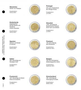 1 x LINDNER 1118-11 Vordruckblatt + K3 Karat Blatt - 2 EURO Gedenkmünzen chronologisch ab Slowenien 2013 - Griechenland 2013