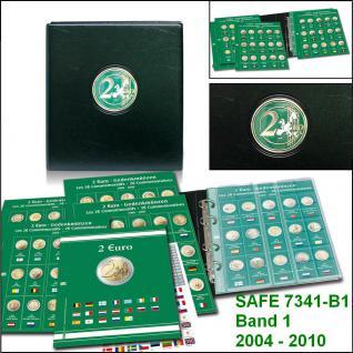 SAFE 7341-B1 PREMIUM 2 EURO MÜNZALBUM + 6x farbige Vordruckblätter + 6x 7372 Münzhüllen Band 1 2004 - 2010 von Andorra - Zypern