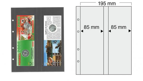 10 x SAFE 7398 PREMIUM Münzblätter Folder Banknotenhüllen 2VC 2x ca. 255 x 85 mm Ideal für Banknoten Euro Blister Folder