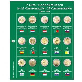 SAFE 7341-3 Premium Münzblätter Ergänzungsblätter Münzhüllen 7393 mit Vordruckblättern 2 Euro Münzen Gedenkmünzen 2007 - 2008 - Vorschau 1