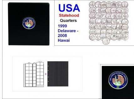 SAFE 7349 PREMIUM MÜNZALBUM USA 25 Cent - US QUARTERS STATEHOOD Gedenkmünzen 1999 - 2008 + 6x Münzhüllen 7393 + schwarze ZWL - Vorschau 1