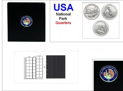 SAFE 7349 PREMIUM MÜNZALBUM USA 25 Cent US QUARTERS NATIONAL PARK Gedenkmünzen + 7x Münzhüllen 7393 + schwarze ZWL - Vorschau 1
