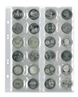 5 x LINDNER MU24 Multi Collect Münzblätter Münzhüllen 24 Taschen für Münzen bis 34 x 34 mm + schwarzen ZWL Ideal für 10 Euro / DM