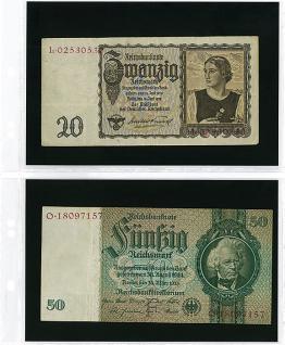 10 x LINDNER MU1404 Multi Collect Banknotenlätter 2 Taschen 185 x 120 mm mit Universal Lochung für Banknoten Papiergeld