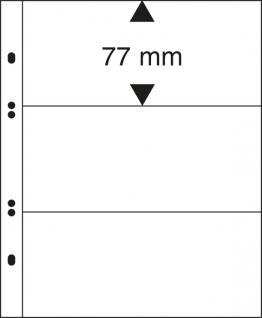 10 x LINDNER MU1323 Glasklare Multi Collect Einsteckblätter 3 Taschen / Streifen 77 x 253 mm