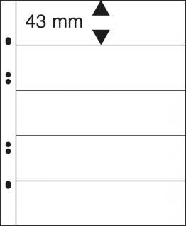 10 x LINDNER MU1325 Glasklare Multi Collect Einsteckblätter 5 Taschen / Streifen 43 x 253 mm für Briefmarken & Banknoten