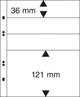 10 x LINDNER MU1319 Schwarze Multi Collect Einsteckblätter 4 Taschen Mixed 3x 36 mm & 1x 121 mm