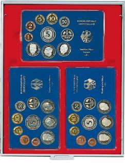 LINDNER 2203 Standard Graue MÜNZBOXEN für 3 Kursmünzensätzen in Eplalux Etuis 158 x 100 mm
