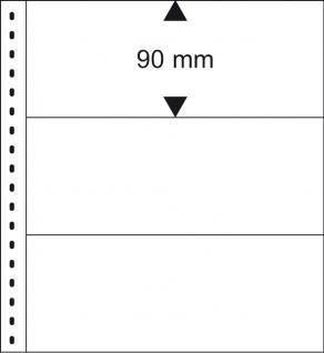 10 x LINDNER 851 Klarsichthüllen Banknotenhüllen 3 Taschen Streifen 240 x 90 mm mit schwarzen Zwischenblättern