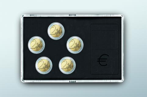 SAFE 7904 Glasklare Stapelbare Acryl Münzetuis Münzenetuis Münz Etuis Vista Libra für 5 x 2 Euro Münzen Gedenkmünzen Kursmünzen