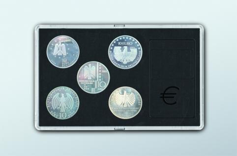 SAFE 7900 Glasklare Stapelbare Acryl Münzetuis Münzenetuis Münz Etuis Vista Libra Blau für 5 x 10 Euro / DM Mark Münzen Gedenkmünzen - Vorschau 1