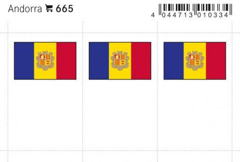 6 x LINDNER 665 Andorra Flaggensticker Flaggen Signetten Sets zum aufkleben oder einstecken