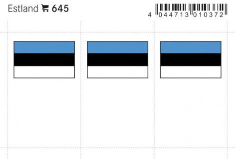 6 x LINDNER 645 Estland Flaggensticker Flaggen Signetten Sets zum aufkleben oder einstecken