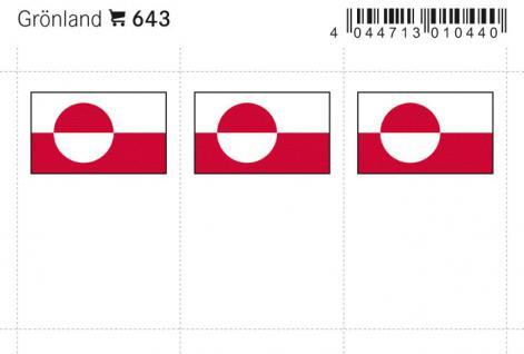 6 x LINDNER 643 Grönland Flaggensticker Flaggen Signetten Sets zum aufkleben oder einstecken