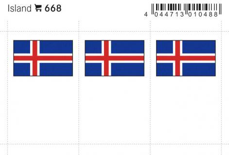 6 x LINDNER 668 Island Flaggensticker Flaggen Signetten Sets zum aufkleben oder einstecken