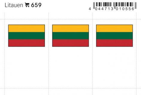 6 x LINDNER 659 Litauen Flaggensticker Flaggen Signetten Sets zum aufkleben oder einstecken