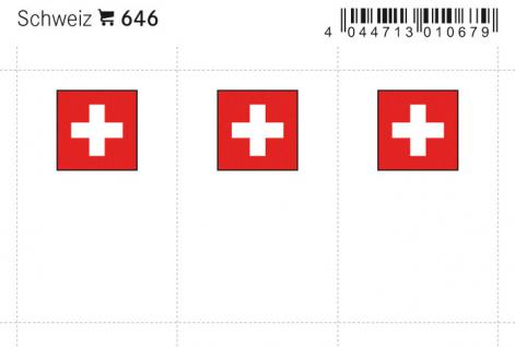 6 x LINDNER 646 Schweiz Flaggensticker Flaggen Signetten Sets zum aufkleben oder einstecken