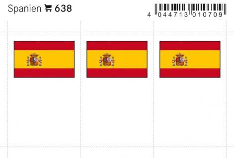 6 x LINDNER 638 Spanien Flaggensticker Flaggen Signetten Sets zum aufkleben oder einstecken