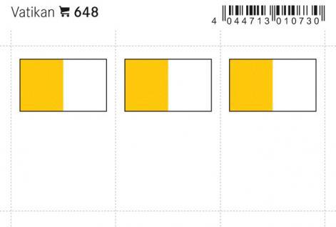 6 x LINDNER 648 Vatikan Flaggensticker Flaggen Signetten Sets zum aufkleben oder einstecken