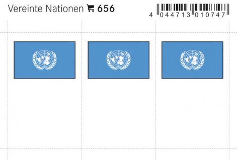 6 x LINDNER 656 Vereinte Nationen - UNO Flaggensticker Flaggen Signetten Sets zum aufkleben oder einstecken