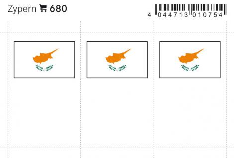 6 x LINDNER 680 Zypern Flaggensticker Flaggen Signetten Sets zum aufkleben oder einstecken