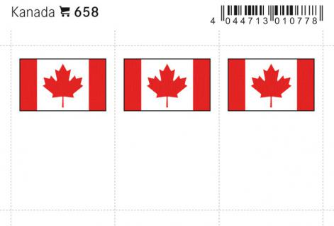 6 x LINDNER 658 Kanada - Canada Flaggensticker Flaggen Signetten Sets zum aufkleben oder einstecken