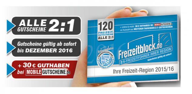 Freizeitblock Berlin - Brandenburg 2015-2016 Gutscheinbuch FREIZEIT GUTSCHEINE RABATTE PORTOFREI IN DEUTSCHLAND - Vorschau 1