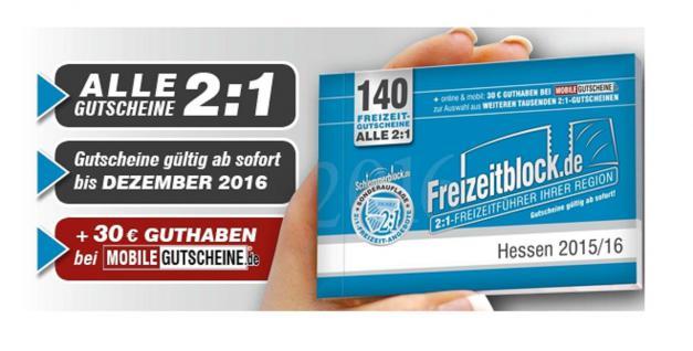 Freizeitblock Hessen 2015-2016 Gutscheinbuch FREIZEIT GUTSCHEINE RABATTE PORTOFREI IN DEUTSCHLAND