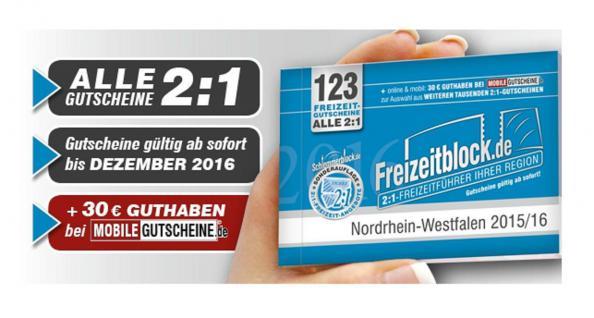 Freizeitblock Nordrhein-Westfalen NRW 2015-2016 Gutscheinbuch FREIZEIT GUTSCHEINE RABATTE PORTOFREI IN DEUTSCHLAND