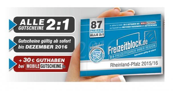 Freizeitblock Rheinland-Pfalz 2015-2016 Gutscheinbuch FREIZEIT GUTSCHEINE RABATTE PORTOFREI IN DEUTSCHLAND