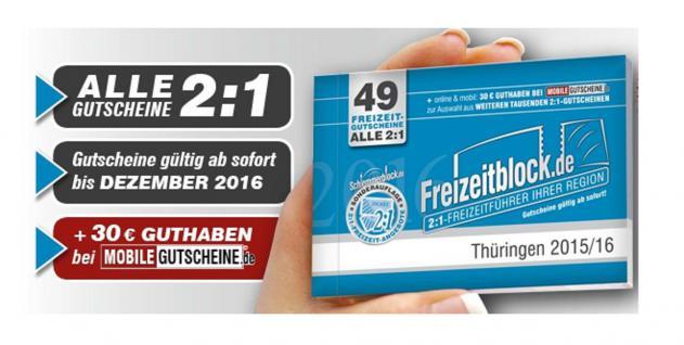 Freizeitblock Thüringen 2015-2016 Gutscheinbuch FREIZEIT GUTSCHEINE RABATTE PORTOFREI IN DEUTSCHLAND