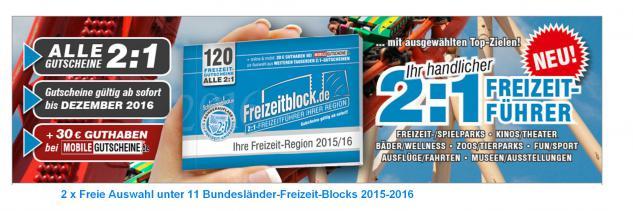 """2 x Freizeitblocks Deutschland 2015-16 """" FREIE AUSWAHL """" Gutscheinbuch Deutsche Bundesländer FREIZEIT GUTSCHEINE RABATTE - Stück nur 14, 90 € - Vorschau 1"""