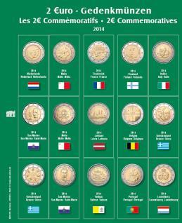SAFE 7341-12 Premium Münzblätter Ergänzungsblätter Münzhüllen 7393 mit Vordruckblättern 2 Euro Münzen Gedenkmünzen 2014 - Vorschau 1