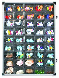 SAFE 5877 ALU Sammelvitrinen Vitrinen Setzkasten mit 45 Fächern bis 49 mm Höhe Ideal für Ü Eier Figuren Spielzeug