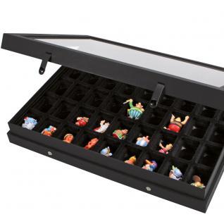 SAFE 5677 Black Edition Sammelvitrinen Vitrinen Setzkasten mit 45 Fächern bis 49 mm Höhe Ideal für Ü Eier Figuren Spielzeug