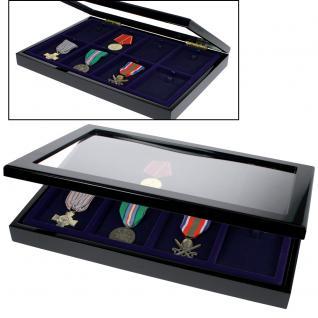 SAFE 5926 Schwarze Sammelvitrine Vitrinen Setzkasten Klavierlackoptik mit 8 Fächern für Militaria & Orden & Antiquitäten - Vorschau 3