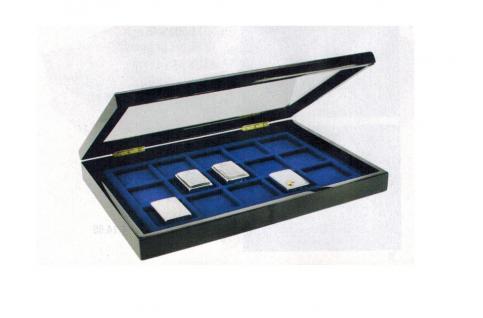 SAFE 5901 Schwarze Sammelvitrine Vitrinen Setzkasten Box in Klavierlackoptik 15 Fächer ZIPPO Feuerzeuge - Lighter