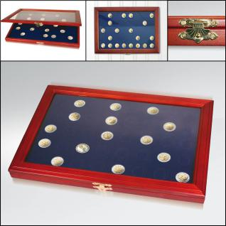 "SAFE 5910 Echt Holz Münzvitrinen Vitrinen 23 x 2 Euromünzen "" 30 Jahre Euro Flagge 1985 - 2015 in Münzkapseln 26"