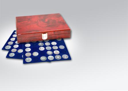 SAFE 5797 Premium WURZELHOLZ Münzkassetten 60x 10 Euro / DM Münzen Deutschland in Münzkapseln 32, 5 PP ohne Rand oder Münzen bis 37, 5 mm