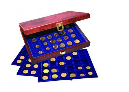 SAFE 5783 Premium WURZELHOLZ Münzkassetten 3 Tableaus 6350 - 45 Fächer 50 x 50 mm Für Münzrähmchen - Quadrum & Carree & Octo Münzkapseln