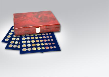SAFE 5792 Premium WURZELHOLZ Münzkassetten 3 Tableaus 6340 Für 15 komplette Euro KMS Kursmünzensätze 1 Cent - 2 € Euromünzen