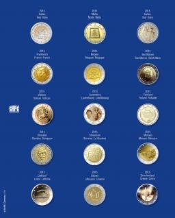 1 x SAFE 7822-14 TOPset Münzblätter Ergänzungsblätter Münzhüllen Münzblatt mit farbigem Vordruckblatt für 2 Euromünzen Gedenkmünzen - 2015 - Vorschau 1